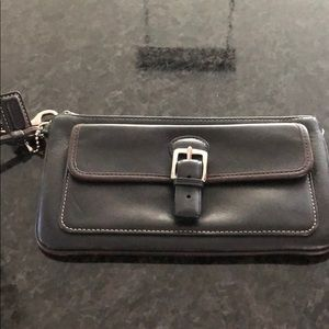 Coach black and brown wristlet